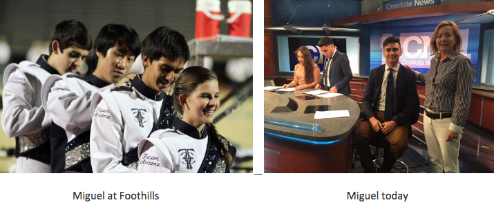 Left: Miguel at Foothills, Right: Miguel Today at Cronkite News