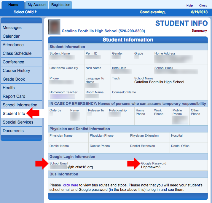 Image displaying the Student Info screen showing where to find login info.