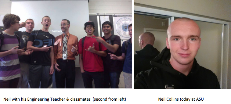 Left: Neil with his Engineering Teacher & Classmates, Right: Neil Collins today at ASU