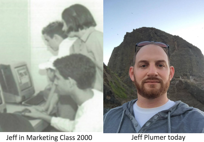 Left: Jeff in Marketing Class 2000, Right: Jeff Plumer today.