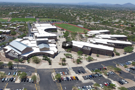 Aerial view of Catalina Foothills High School used as a video link.